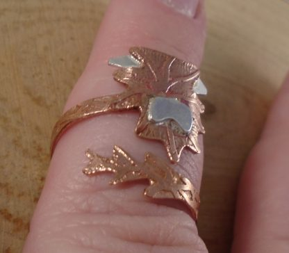 copper and silver highland cow ring