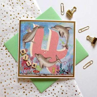 Personalised 4th Birthday Dolphin card