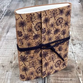 A6 cork journal with seedheads flowers
