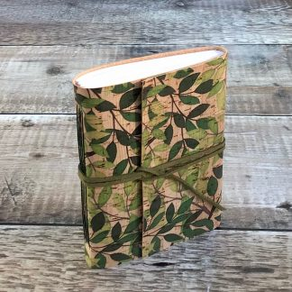 Eco friendly A6 cork journal with leaves