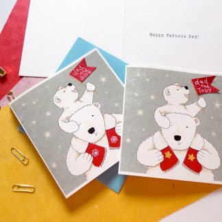 Fathers Day Polar Bear Personalised Card Gift