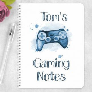 Blue game controller Gaming notes, personalised
