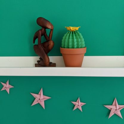 Green cactus on shelf with pink stars below