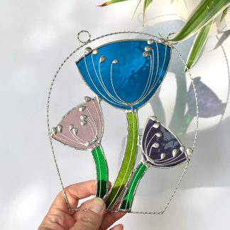 Stained glass cow parsley suncatcher