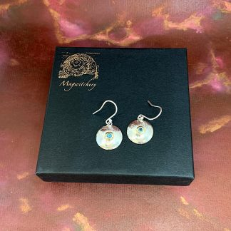 Etched Domed Silver Drop Earrings with Gold set Blue Topaz - Blue Velvet - Magwitchery