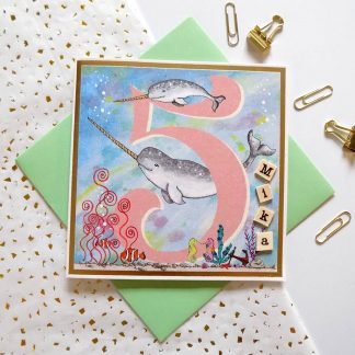 Narwhal 5th Birthday card personalised