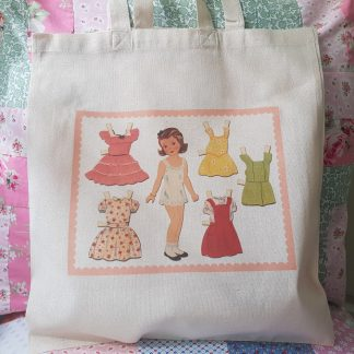 Doll's Illustration Hand Printed Cotton Fabric Shopping Tote