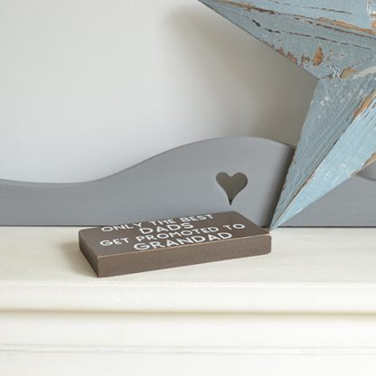 Small wooden sign for special Dads with the words 'Only the best Dads get promoted to Grandads' to the front.