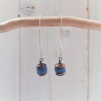acorn style earrings with recycled copper and azure blue lava rock earrings