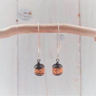 acorn style earrings with recycled copper and mustard colour lava rock beads