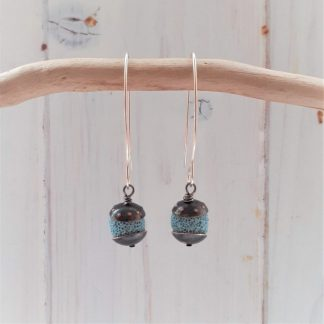 acorn style earrings with recycled copper and turquoise colour lava rock beads