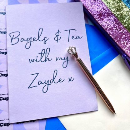 bagels and tea with zayde card