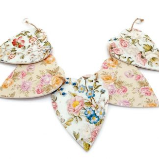 Flowers Wooden Bunting Shabby Chic Inspired by Adien Crafts