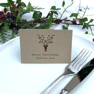 christmas place card rudolph with cutlery
