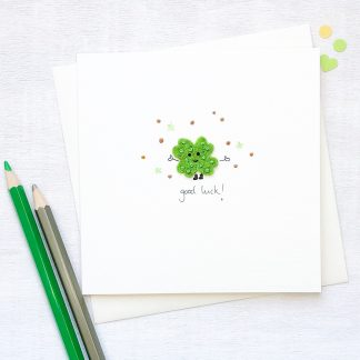 Handmade Personalised Lucky Clover Good Luck Card