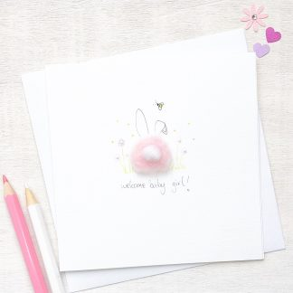 Handmade, personalised fluffy bunny new baby card