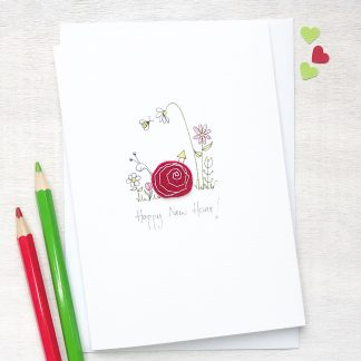 Handmade, personalised Smiley Snail New Home Card