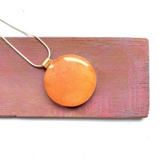 modern orange copper and wood small circular necklace