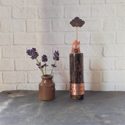 no storm lasts forever small recycled copper sculpture