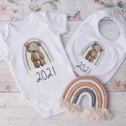 Rainbow and teddy vest and bib set with year 2021