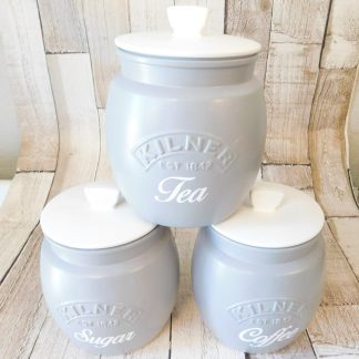 Grey and White Kitchen Canisters