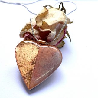 vintage rose gold copper and wood heart necklace