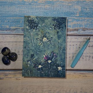 Hand Bound Journal with Original Wet Cyanotype Print Covers … Daisies and Umbelliferae with a Splash of Red … Because Your Words Are Worth It