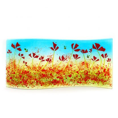 Red poppies and bees, curved fused glass panel