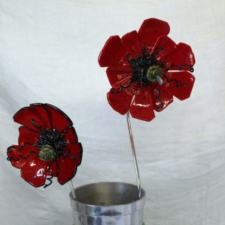 Red fused glass poppies