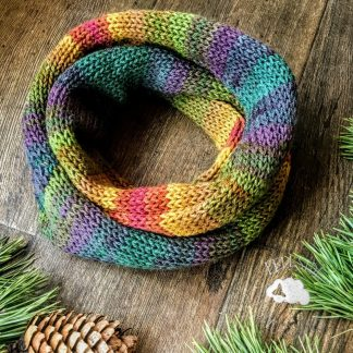 Knitted double infinity scarf in muted autumn shades