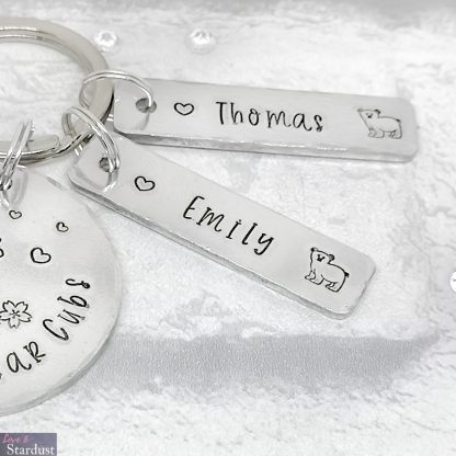 Hand-stamped Personalised Keyring - teddy bear theme - additional tags