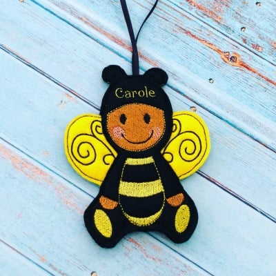 Gingerbread Bee hanging ornament