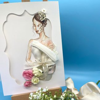 Bride-to-B-card-Special-Occasion-Textile-Art-3-D-Ivory