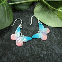 Turquoise-&-Pink-Butterfly-Earrings