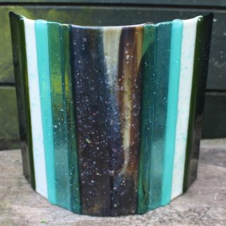 Turquoise and cream glass candle shade