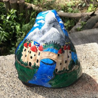 Natural Rock with painted fairytale castle scene