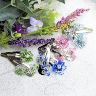 Silver and coloured flower crystal hair clips