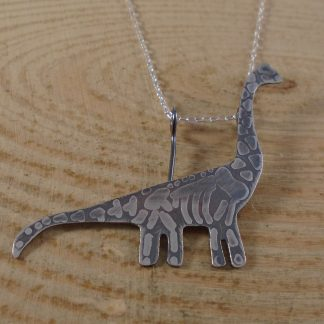 sterling silver brontosaurus fossil necklace