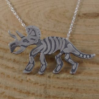 Sterling silver triceratops fossil necklace