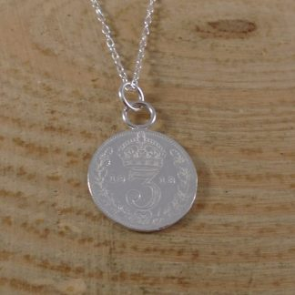 sterling silver threepence necklace