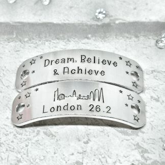 Trainer Tags for shoe laces hand-stamped gift for a runner London skyline