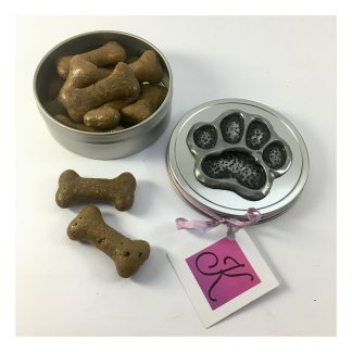 Small round treat tin with a hand made paw print design in cold-cast pewter on the lid
