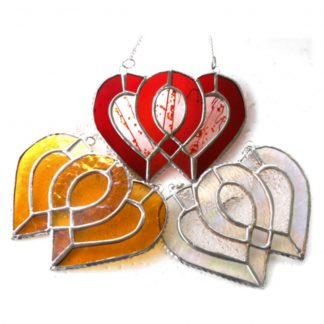 Entwined wedding anniversary heart stained glass suncatcher ruby silver gold diamond