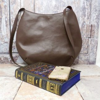 Handmade brown faux leather slouch bag