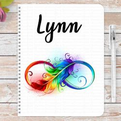 Infinity feathers in rainbow colours, personalised notebook