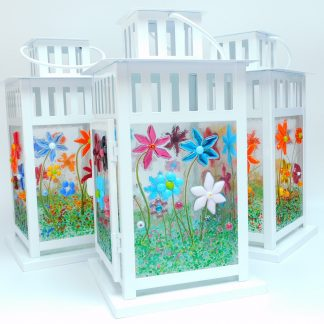 Three Floral Fused Glass Panelled Candle Lanterns