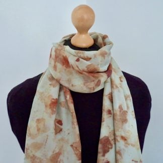 Blue-and-Coral-Hand-Dyed-Eco-Printed-Silk-Scarf