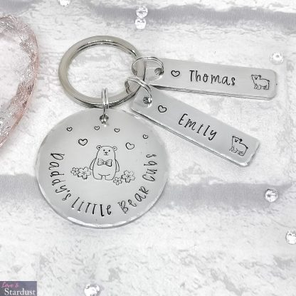 Hand-stamped Personalised Keyring for Father's Day for Dad Grandad