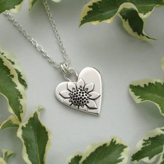 Sterling silver sunflower heart pendant necklace