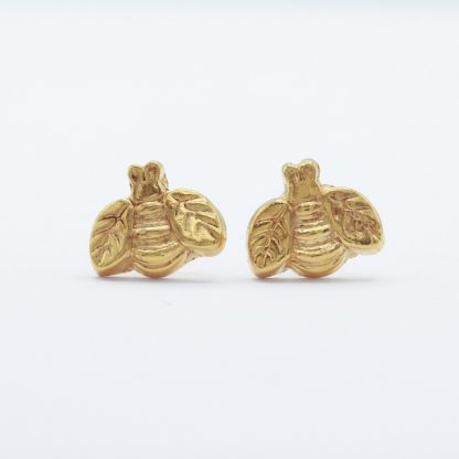 gold vermeil and fine silver bee stud earrings